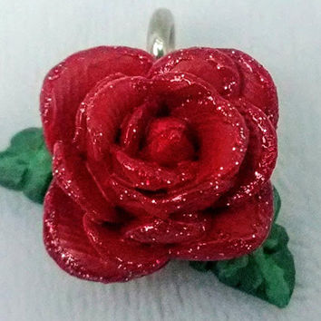 Red rose flower pendant necklace hand-painted handmade clay blossom bud jewelry charm pendant