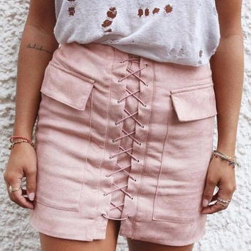 Strappy Lace Up Suede Pink Skirt