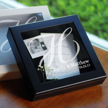 Black Wedding Wishes Keepsake Shadow Box