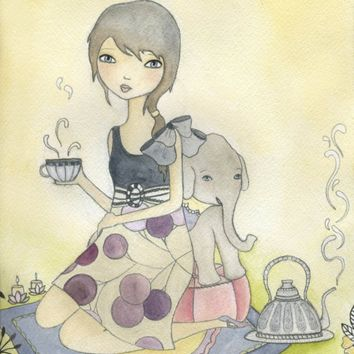 Elephant Tea Jungle Girl Nursery Art Print by lindsayart on Etsy