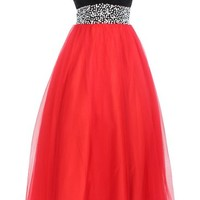 Dressystar Black and Red Sweetheart Prom Evening Dress with Beaded Waist