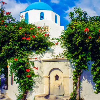 Greece printable, digital download, blue domed church, white wash building, Greek architecture, travel photography, wall art, home decor