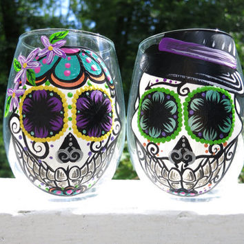 Hand painted sugar skull couple stemless wine glass set