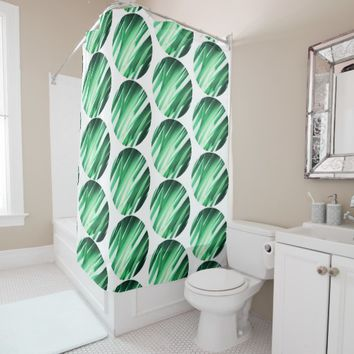 Stylish Palm Leaves Green Circles Shower Curtain