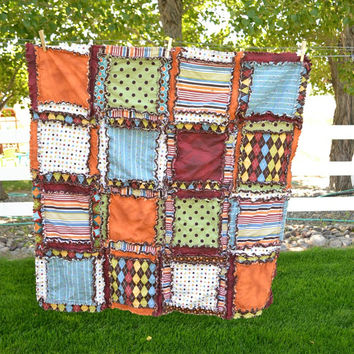 RAG QUILT, Baby Blanket, Crib Bedding, in Orange, Blue, Green, and Brown, Argyle, Polka Dots, and Stripe Fabric, Ready to Ship