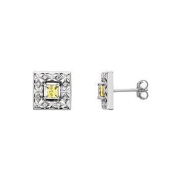 Canary Yellow Sapphire & Diamond 14k White Gold Square Post Earrings
