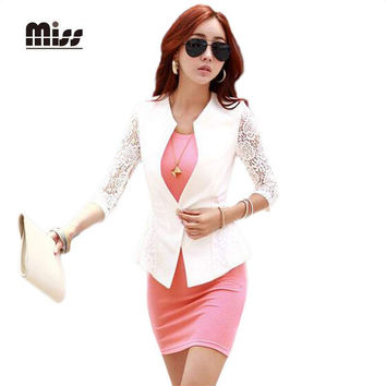 MISS Spring Lace Business White Slim Single Button Office Formal Suit