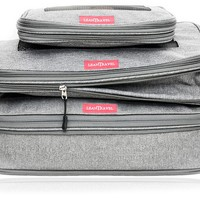 LeanTravel Compression Packing Cubes Luggage Organizers for Travel W/ Double Zipper (3) Set