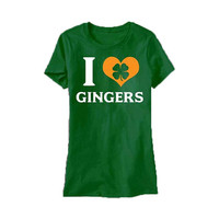 I Love Gingers (Shamrock) - Redhead - St Patrick's Day - tee shirt