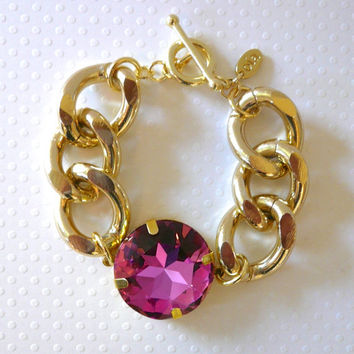Chunky Gold Chain & Bright Pink Iridescent Crystal Bracelet
