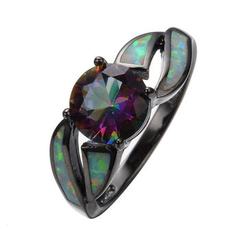 White Fire Opal Colorful Sapphire Rainbow Black Gold Filled Ring