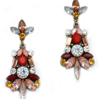 Red Yellow Jewel Statement Crystal Earrings