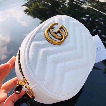 Gucci Popular Women Shopping Bag Leather Metal Chain Long Paragraph Waist Bag Crossbody Satchel White I/A