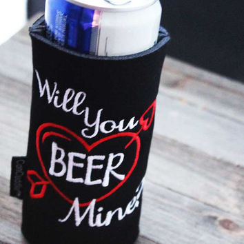 Valentines Day - Gifts for Men - Beer Holder - Can Cuddler - & Free- KOOZIE ®- Slim Beer - Can - Bottle - Holder - Party Favor - Insulator