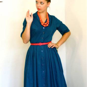 Vintage 50's Navy Blue Cotton Day Dress Miss Colette Full Sweep Pintuck 3/4 Sleeve Retro Housewife MAD MEN Era 1950's 60's Shirtwaist Frock