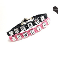Cowboy Cowgirl Couples Bracelets Set of 2 Pink and Black Hemp