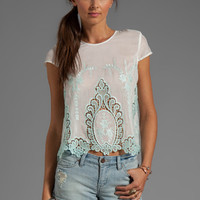 Dolce Vita Story Petticoat Embroider Blouse in White/Mint from REVOLVEclothing.com