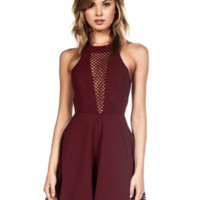 Meshed Up Skater Dress - Wine