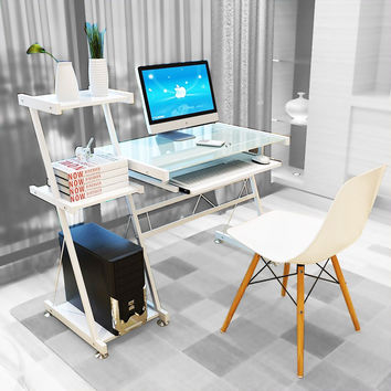 Dland Computer Desk Home Office PC Laptop Desk with Keyboard Bit Bookshelf Studying Writing Reading Table Z-Type Modern Workstation White Model 1 '