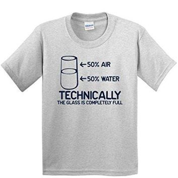 Technically The Glass Is Completely Science Sarcasm Funny Cool Humor T-Shirts Men T Shirt Great Quality Funny Man Cotton