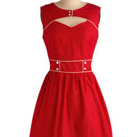 Red-y and Rarin' to Go Dress | Mod Retro Vintage Printed Dresses | ModCloth.com
