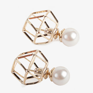Geometric Pearl Double End Stud Earrings
