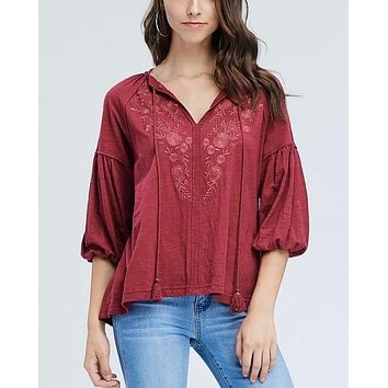 drop shoulder boho tassel top with embroidered detail - burgundy