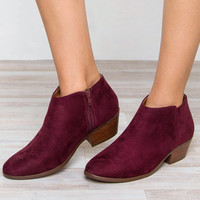 Evelina Booties - Burgundy