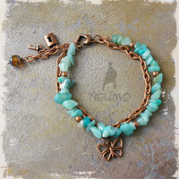 Two in One Multi Strand Amazonite Chip Gemstone Bracelet Bohemian Glam Czech Crystal Picasso Copper Aqua Blue Heart Padlock Butterfly Charm