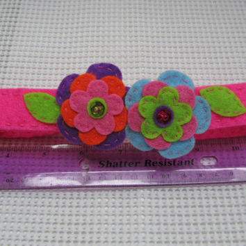 Felt headband, Flower headband, Elastic headband, Embroidered headband, Headband for girls in Pink with colorful flowers