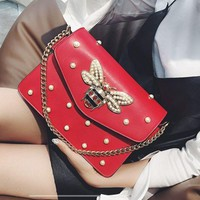 GUCCI Fashion Women Shopping Leather Metal Chain Chic Honeybee Shoulder Bag Crossbody Satchel