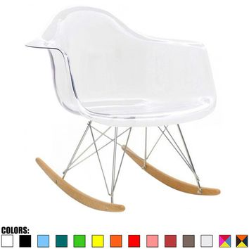 2xhome - Eames Chair Style Molded Modern Plastic Armchair - Contemporary Accent Retro Rocker Chrome Steel Eiffel Base | Overstock.com Shopping - The Best Deals on Living Room Chairs