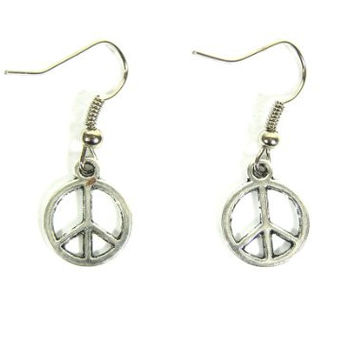 Peace Sign Dangle Earrings Vintage Hippie EA04 Flower Power Retro 60s Silver Tone Chandelier