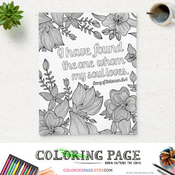 Coloring Page Printable Bible Verse Song of Solomon 3:4 Instant Download Adult Coloring Pages Printable Art Wedding Bible Quote Digital Art