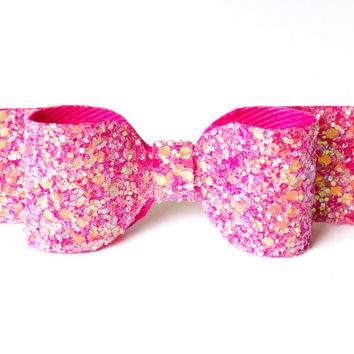 Pink glitter bow - bright pink glittery hair bow - headpiece - womens headband - adult headband woman - hair accessories - uk seller