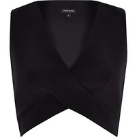 River Island Womens Black wrap crop top