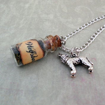 Glass Vial Necklace, Wolfsbane, Warewolf Repellant with Wolf Charm