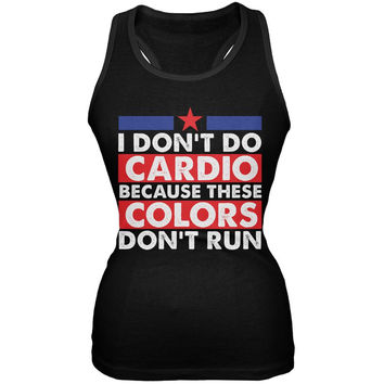4th Of July I Don't Do Cardio Black Juniors Soft Tank Top
