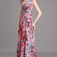Floral Print Cap Sleeve Gown