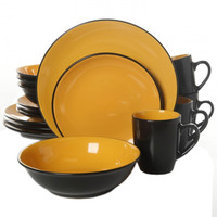 Vivendi 2 Tone 16pc Dinnerware Set Black-Yellow