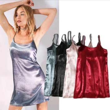 Summer Fashion Sexy Straps Satin Show Thin Nightgown