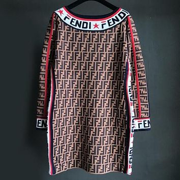 FENDI Autumn Winter Popular Women Sexy F Letter Jacquard Off Shoulder Knit Long Sleeve Dress Coffee