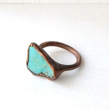 Turquoise Ring Raw Gemstone Birthstone Cocktail Ring December Copper Jewelry Robins Egg Blue