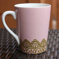 Pink Coffee Mug with Gold Lace Henna