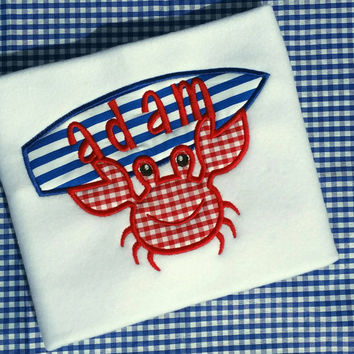 Boys crab surfboard applique' shirt- summer crab- beach shirt surfboard- beach boy shirt- red white blue patriotic- July4th- affordable free
