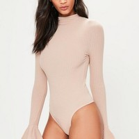 Missguided - Tall Nude High Neck Flared Sleeve Bodysuit