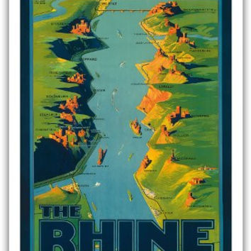 """Germany - The Rhine - """"The Most Beautiful River of the World"""" Walt Whitman - Route Map with Riverside Cities, Painting - Vintage World Travel Poster by Richard Friese c.1930s - Master Art Print - 12in x 18in"""