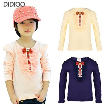 children t shirts for girls 2017 spring & autumn big kids clothes lace flower child tops long sleeve girl tees cotton tshirt