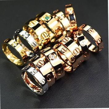 """Cartier"" Stylish Ladies Men Ddelicate Diamond Ring Lovers Lovely Rings Rhinestone Ring"