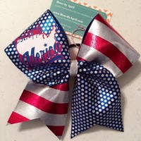 'MERICA Est. 1776 Blue Hollow Dots and Red Striped Cheer Bow Great for July 4th - Bows by April Express
